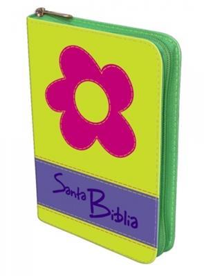 Biblia manual troquelada verde flor