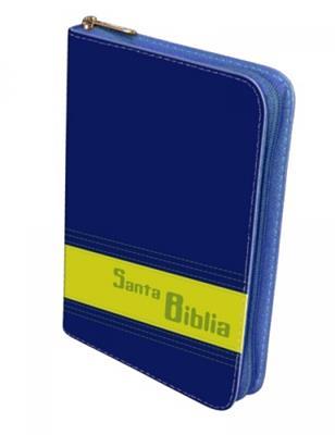 Biblia manual cosida azul, verde