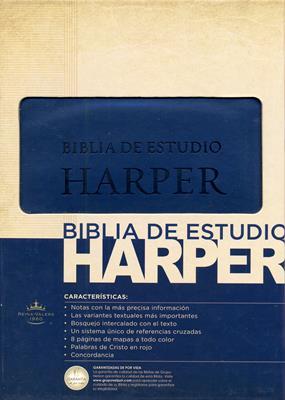 Biblia de estudio Harper, Italiana Azul (Piel Italiana)