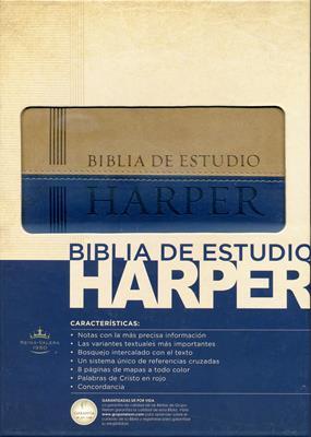 Biblia de estudio Harper, Italiana Azul-Beige (Piel Italiana)