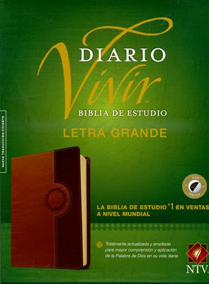 Biblia De Estudio Diario Vivir Letra Grande Cafe con Indice (Piel ) [Biblia]