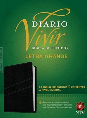 Biblia De Estudio Diario Vivir Letra Grande Negro Indice (Piel) [Biblia]