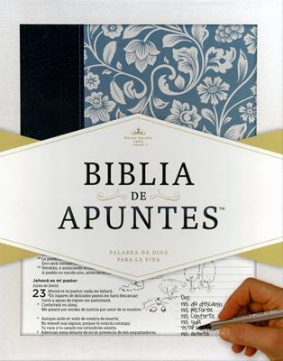 Biblia De Apuntes Azul Floral (Piel Duo Tono) [Biblia]