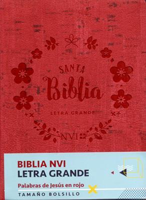 Biblia/NVI/Bolsillo/Letra Grande/C Italiano/Palabras De Jesus En Rojo/Roja