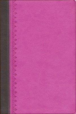 Tras las huellas del Mesías Dos Tonos Biblia de Estudio Rosa/Marrón (Tapa piel dos tonos)