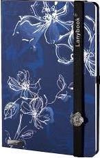 Lanybook Lineado Azul Oscuro Flores (Tapa Dura) [Agenda]
