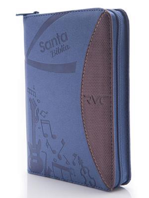 Biblia RVC Tamaño Mediano con Cierre Azul-Vinotinto Canto Plateado (Flexible Imitación Piel con Cierre) [Bíblia]