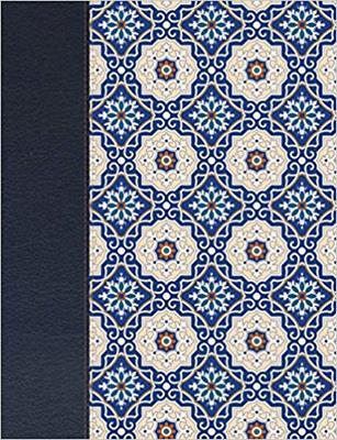 Biblia De Apuntes Piel Fabricada  Mosaico Crema Y Azul (Tapa Dura) [Biblia]
