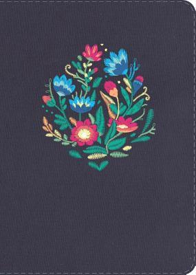 Biblia Tamaño Manual Azul Bordado Sobre Tela (Imitación Piel) [Biblia]