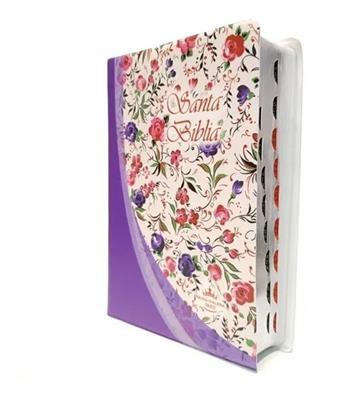 Biblia RVR60 Tamaño Mediano Indice Violeta Flores (Flexible Vinilo Estampado ) [Bíblia]