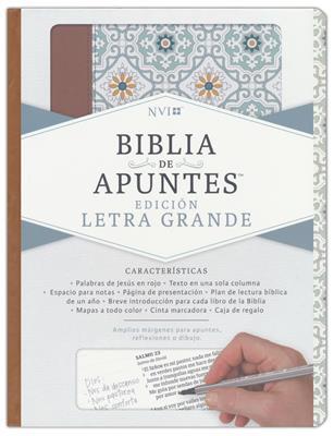 Biblia De Apuntes-NVI-Azulejos Color Salvia (simil piel )