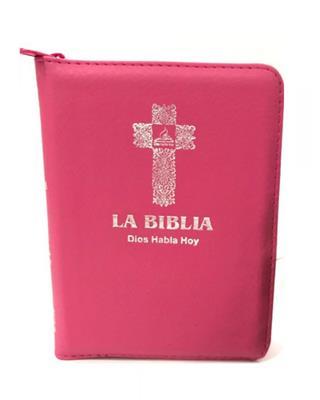 Biblia Version Popular DHH025KZ Fucsia Canto Plateado (Flexible Imitacion Piel Fucsia con Cierre) [Bíblia]