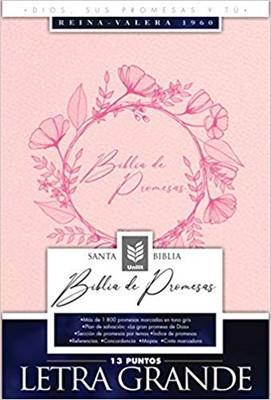 Biblia De Promesas-RVR60-Letra Grande-Rosado-Indice (Imitacion Piel )