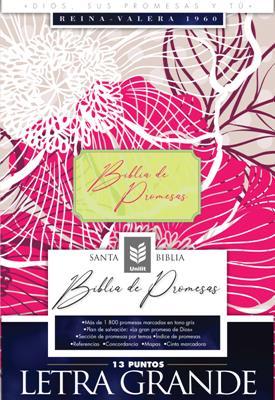 Biblia De Promesas RVR60 Letra Grande Floral Indice (Piel)