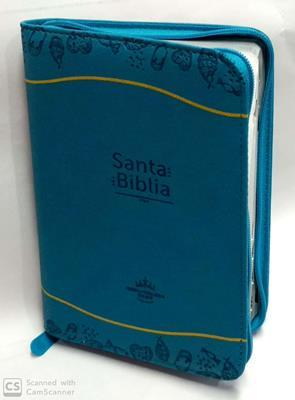 Biblia/RVR045CZTILG PJR/Azul Amarillo (Cubierta imitación piel, flexible, repujada Cierre) [Bíblia]