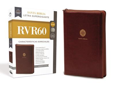 Biblia RVR60 Letra Super Gigante Café Cierre [Bíblia]