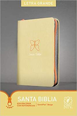 Biblia NTV/Edicion De Referencia/Letra Grande/Ziper/Beige Con Mariposa [Biblia]