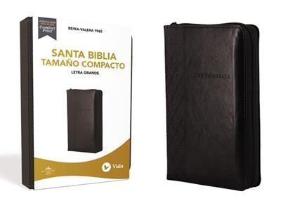 Biblia RVR60/Compacta/Letra Grande/(10)/Negro/Cierre (Imitación piel )