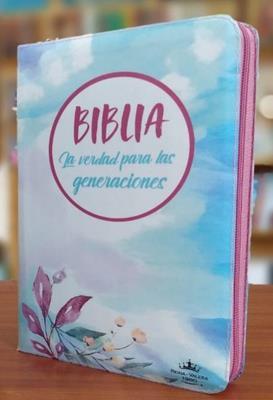 Biblia RVR/Forro Cierre /Flor Rosada-Azul/La Verdad Para Las Generaciones (Vinilo con Cierre)