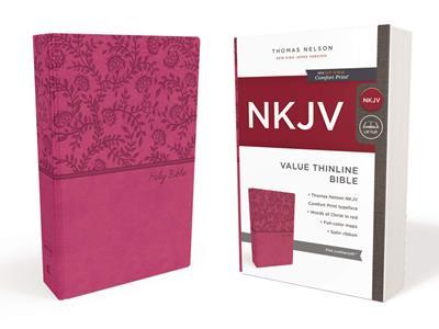 Biblia NKJV/Letras En Rojo/Rosada/Ingles (Imitación piel )
