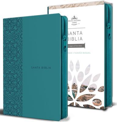 Biblia RVR60/Letra Grande/Tamaño Manual/Aguamarina (Imitación piel)