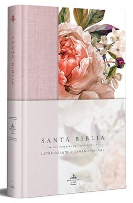 Biblia RVR60 Letra Grande/Tamaño Manual/Tapa Dura/Tela Rosada Con Flores (Tapa Dura)