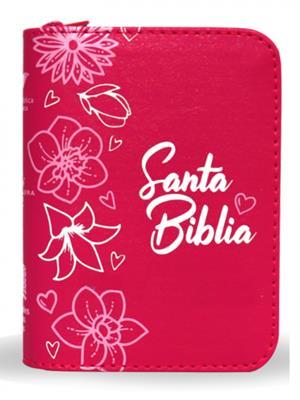 Biblia/RVR015Z/Fucsia Canto Pintado/ Cierre (Imitación piel )