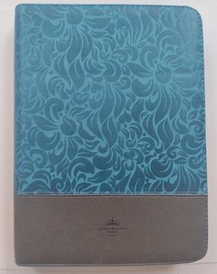 Biblia/RVR086cZTILGi / Azul Gris/Indice Letra Gigante (Imitación piel con Cierre)