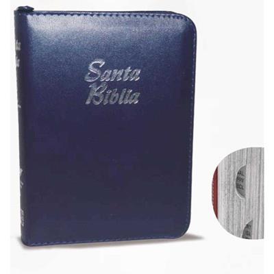 Biblia/RVR025cZTILM/Indice/Cierre Azul C-Plateado (Imitación piel con Cierre)