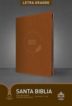 Biblia RVR60/Edicion De Referencia/Ultrafina/Ziper/Cafe/Letra Grande (Imitación piel con Cierre)
