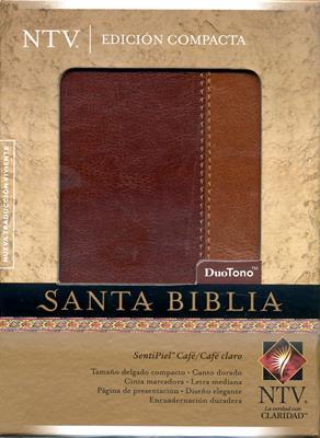 Santa biblia NTV edición compacta duo tono cafe/cafe claro (simulación piel) [NTV]