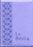 Biblia flexible cierre lila plateada con cierre