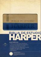 Biblia de estudio Harper, Italiana Azul-Beige (Piel Italiana) [Biblia]