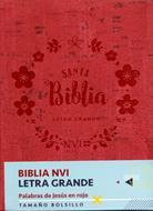 Biblia NVI Bolsillo Letra Grande C Italiano Roja (Piel) [Biblia]