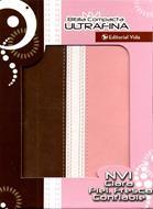 Biblia compacta ultrafina marron-rosa