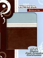 Biblia compacta ultrafina aguamarina-marron NVI (Piel italiana)