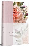 Biblia RVR60 Letra Grande/Tamaño Manual/Tapa Dura/Tela Rosada Con Flores