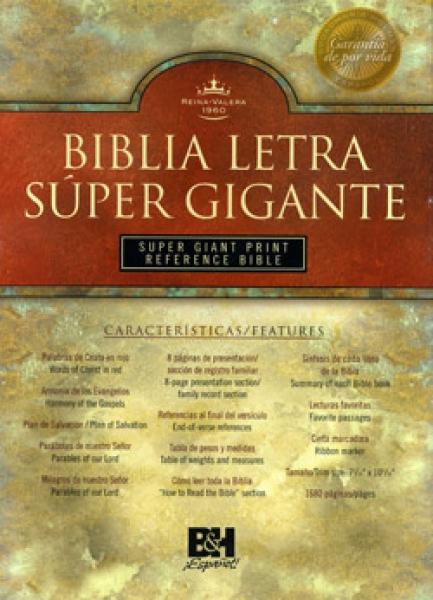 Biblia letra super gigante piel fabricada indice