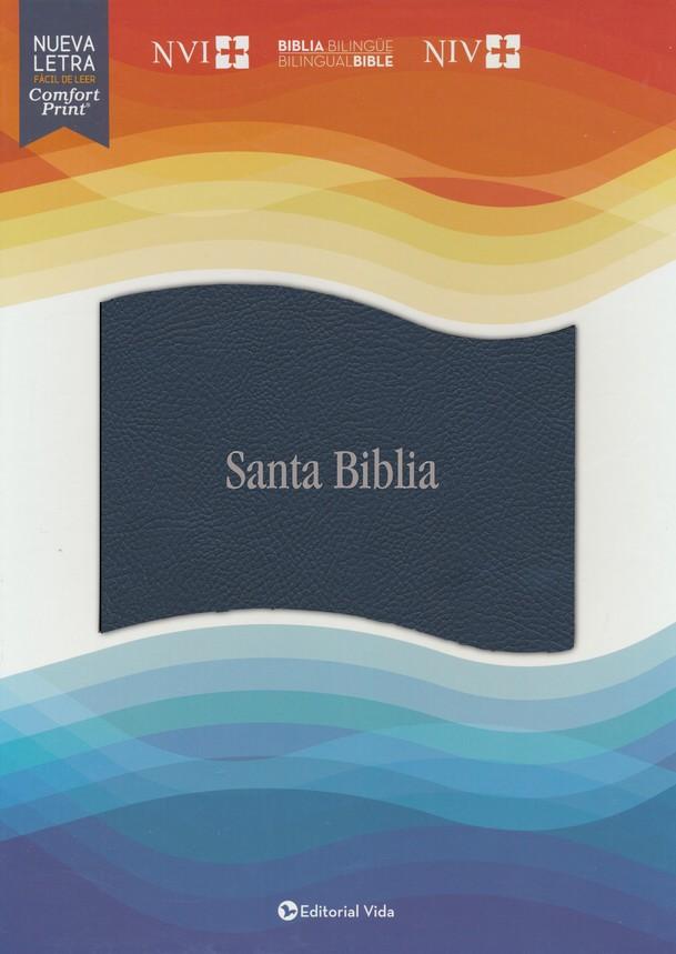 Biblias Bilingüe Azul Imitación Piel