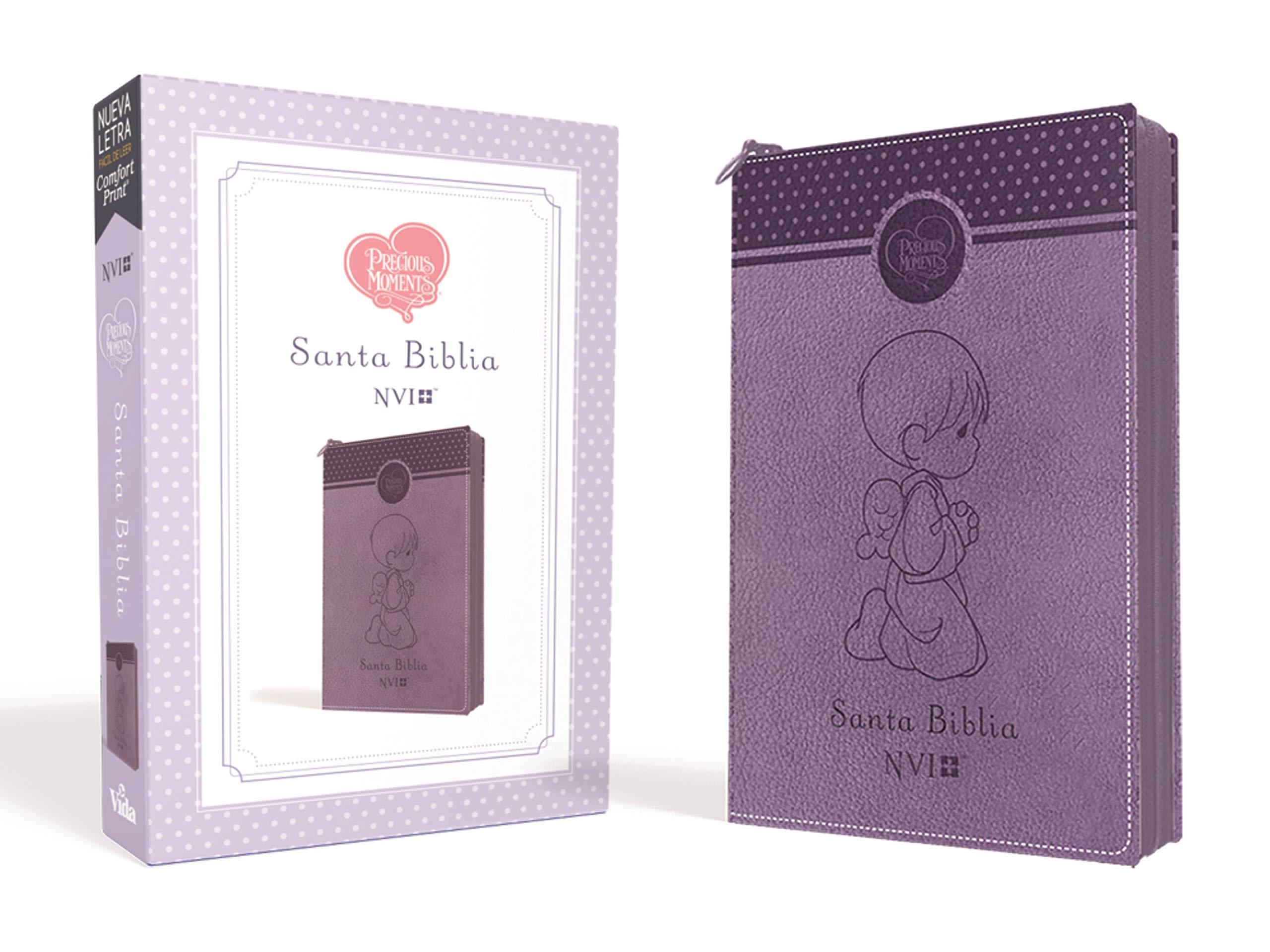 Biblia Precious Moments NVI Angelitos Ultrafina Compacta Purpura con cierre