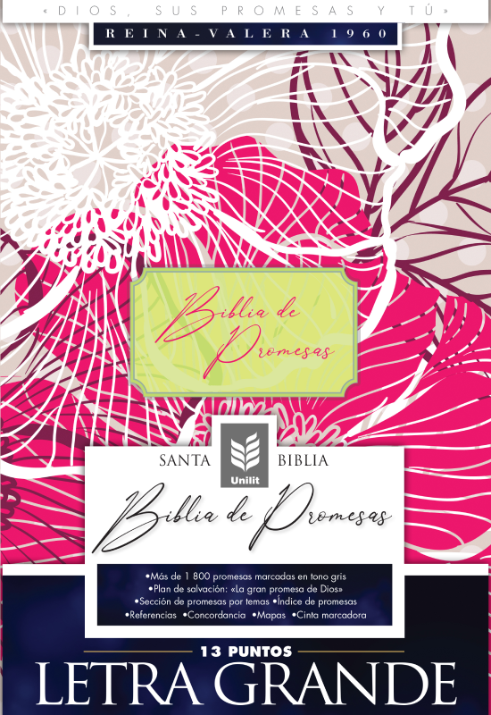 Biblia De Promesas RVR60 Letra Grande Floral Indice