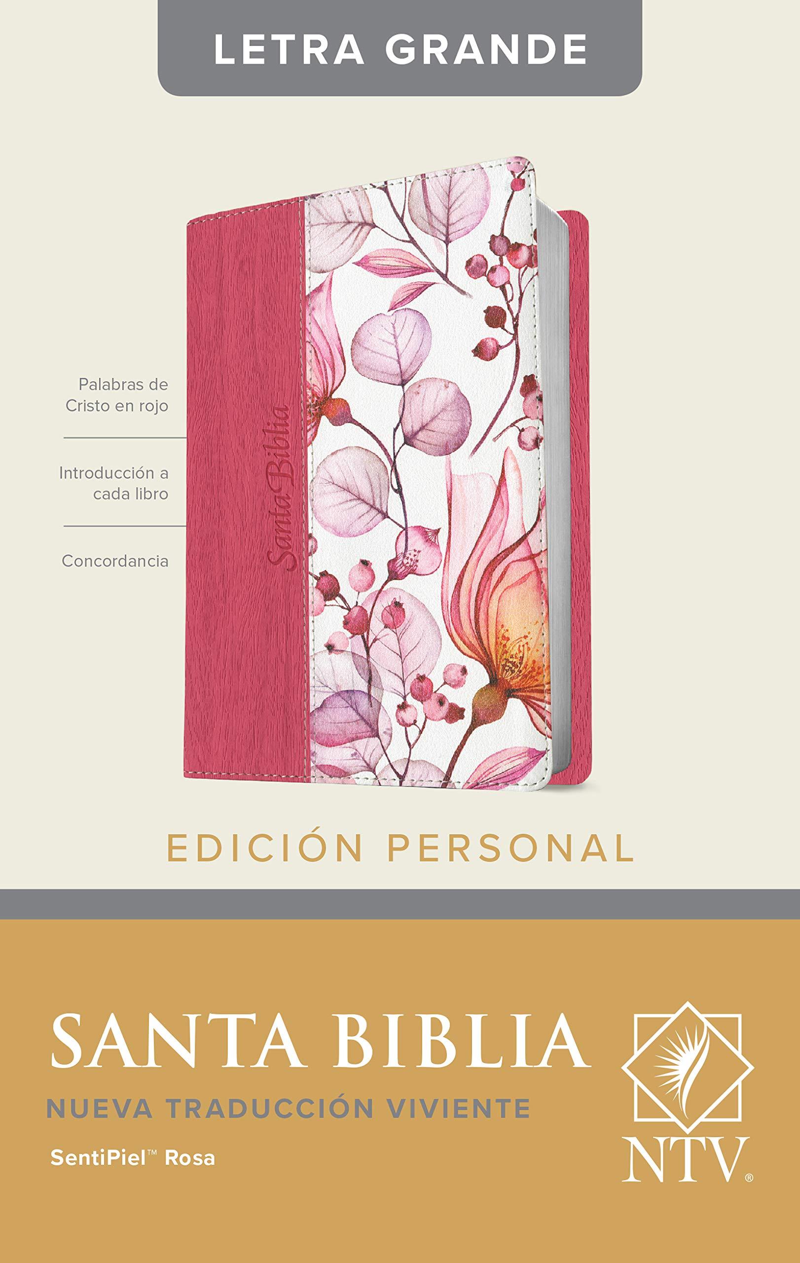 Biblia NTV/Edicion Personal/Letra Grande/Rosada Flores/Sentipiel